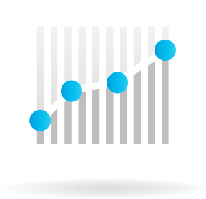 A line graph icon explaining that Better HQ' smart calendar software can save you time with less data entry.