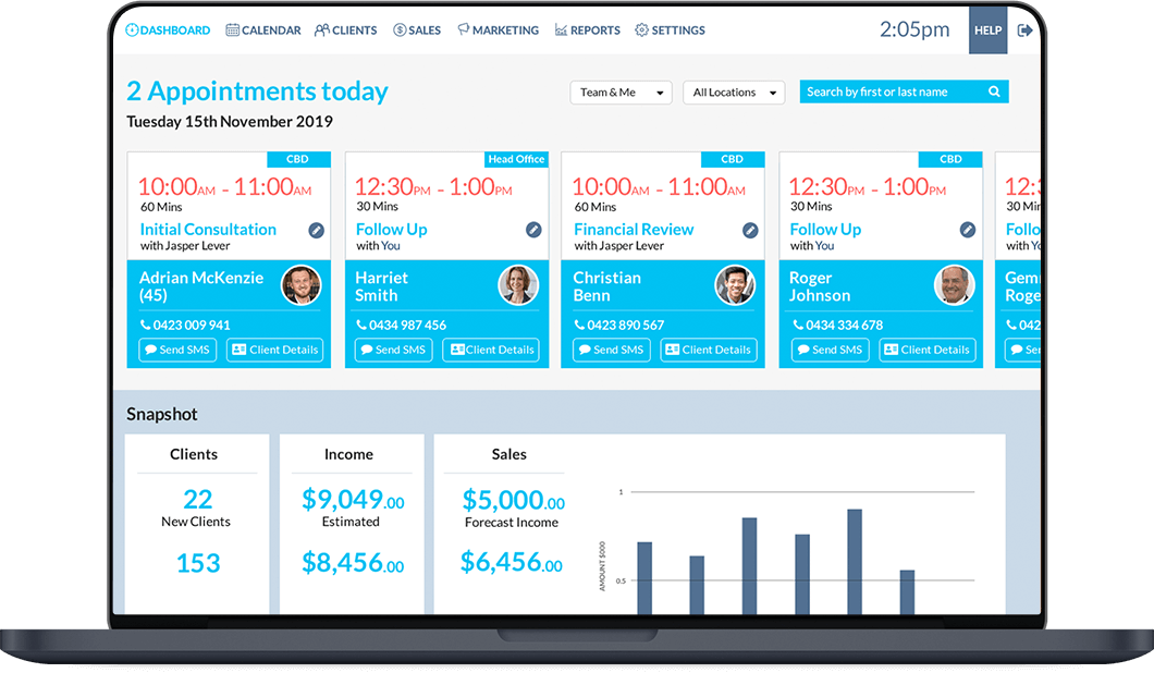 The Better Bookings dashboard gives users an overview of their upcoming appointments and a snapshot of their financials.